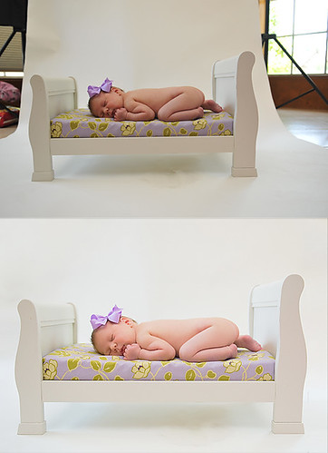 Before & After - Baby on Bed