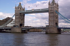 tower bridge. (cuddifordjanice) Tags: blue sky white clouds londontowerbridge thethames smorgasboard