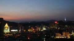 Zhuhai - Jida, Blue Hour (cnmark) Tags: china road city blue light red sky orange tower night landscape geotagged lights noche cityscape nacht district scenic business guangdong hour noite  nuit notte zhuhai nachtaufnahme jingshan    allrightsreserved  jida agriculturalbankofchina shihuashan grouptripod geo:lat=22246284 geo:lon=113575158