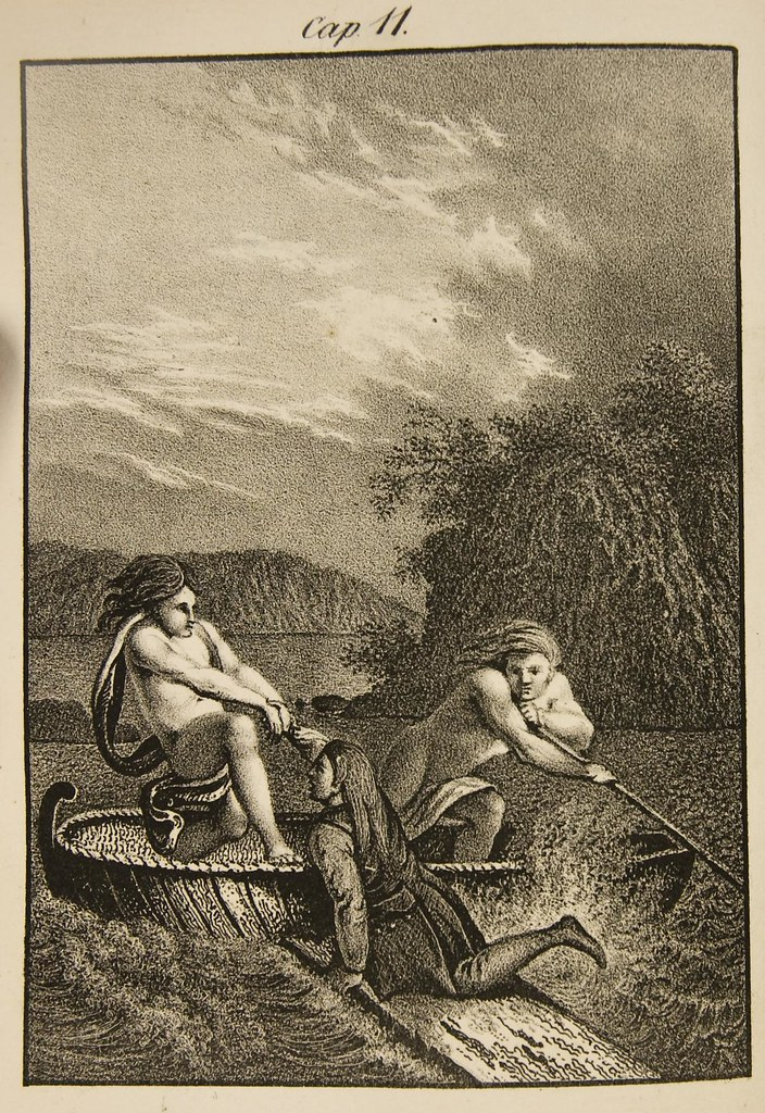 2 people on boat help 3rd aboard (engraving/etching)