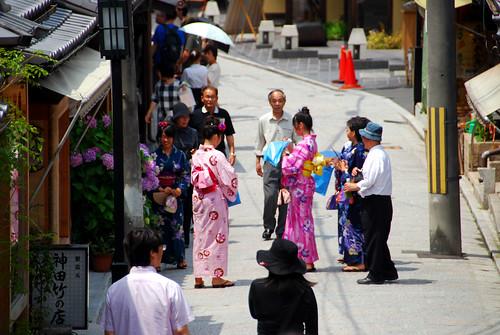 women in yukata (summer kimono), kyoto
