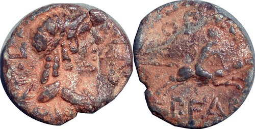 61BC 408/1 #09180-24 Apollo Horseman Lead Tessera Imitative Denarius issued by Fabia and Fronto