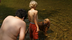 Boys with a very wet Champ (dionhinchcliffe) Tags: camping dog water river seth juan august westvirginia 2009 champ senecarocks