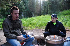 Dinner at No Name Lake (matt semel) Tags: john montana sean glaciernationalpark nonamelake twomedicine dawsonpitamakinlooptrail
