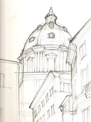 San Andrea della Valle (cduffy_86) Tags: rome pencil sketch dome sanandrea sanandreadellavalle