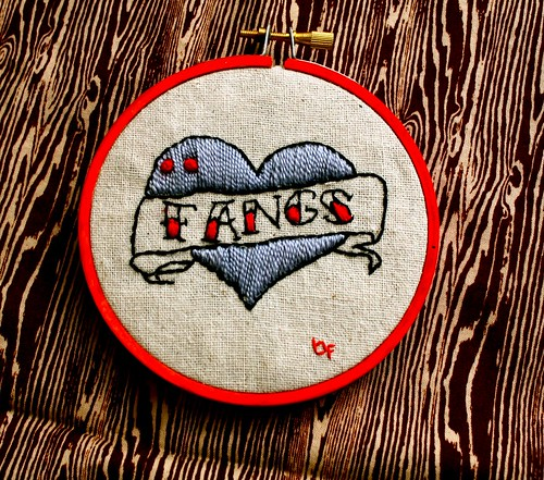I <3 fangs embroidery
