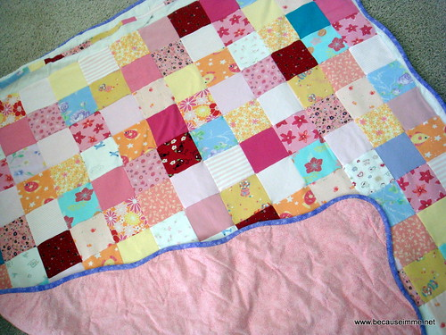 memory quilt with backside and wavy binding
