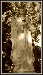 Angel And The Book of Life (doubledcop) Tags: cemetery graveyard statue sepia angel book headstone bookoflife