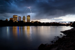 Winnipeg Lightning (bryanscott) Tags: city storm skyline clouds river winnipeg cityscape manitoba lightning bxk ppc13