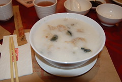 Pork meat congee with Chinese preserved egg and spices