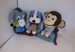 knitkinz_monkey_donkey_dog (knitvana) Tags: dog animals monkey stuffed donkey knitted knitkinz knitvanacom