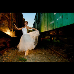 Ballerina (Marcin Sowa) Tags: lighting light ballet station train umbrella lights iso200 dance nikon ballerina dress dancing flash first trains dancer explore ii reflective flashlight plus f56 nikkor filters krakw cracow frontpage speedlight no1 cls pw cto balet d300 resco explored pocketwizard krakoff strobist strobists