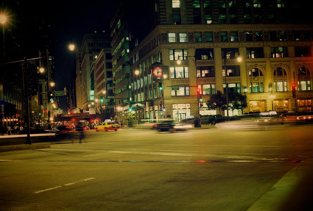Wacker Drive & Wabash Avenue @ Night - 9/28/09