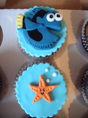 Nemo themed cupcakes (Angelina Cupcake) Tags: birthday cake shark finding nemo starfish bruce disney cupcake angelina squirt crush dory
