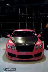 The pink one (Jan L. | JLPhotography.) Tags: auto pink summer car speed nikon frankfurt parking continental exotic jl gt tuning bugatti messe luxury rare 2009 supercar bentley iaa veyron mansory d40 internationaleautomobilausstellung