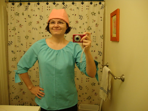 Simplicity 3835 view B and my pink hat