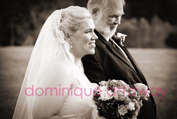 bride and father sepia