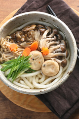 Three Mushrooms Udon for Fall (bananagranola (busy)) Tags: autumn food fall cooking mushroom japan lunch japanese soup udon healthy bowl homemade meal noodles japanesefood ninjin negi shimeji maitake enoki kinoko ganmodoki