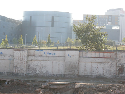 Construction site with sort-of graffiti