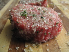 Lemon thyme salt on steak
