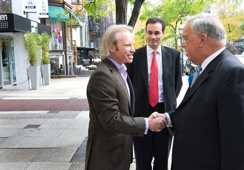 Hotel Chocolat CEO Angus Thirwell, Consul General Phil Budden, and Boston Mayor Thomas Menino