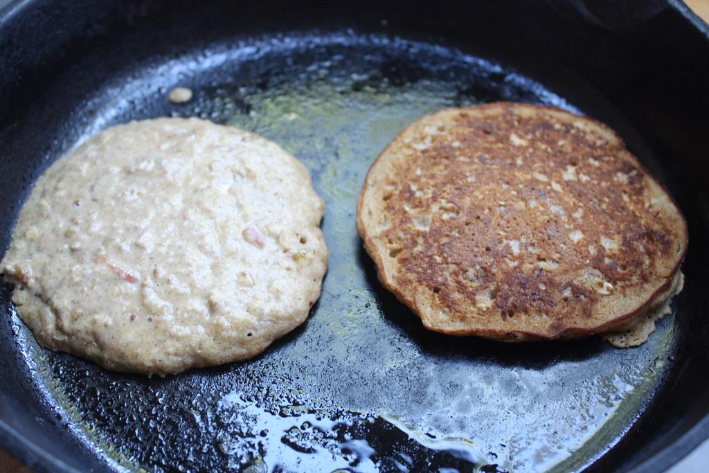 Apple Walnut Oatmeal Pancakes