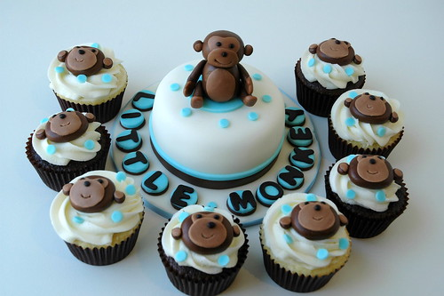 Cupcakes and Mini Cake for Monkey Themed Baby Shower