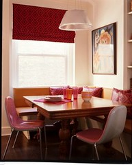 Pink in the kitchen: Banquette seating + modern pink chairs (xJavierx) Tags: pink red house inspiration home kitchen modern design interior decorating decor hardwood banquette woodtable throwpillow breakfastnook amandanisbet