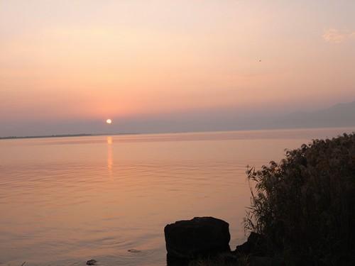 琵琶湖の夕焼け-05