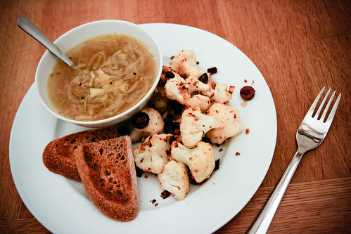 French Onion Soup with Sauteed Cauliflower