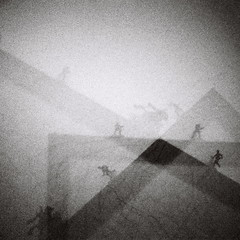 Here, there, and everywhere (kevin dooley) Tags: blackandwhite bw white abstract black film analog 35mm iso3200 blackwhite lomo lomography exposure grain running mini monotone here multipleexposure climbing diana there multiple grainy 3200 figures mx ilford everywhere searching dianamini