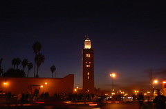 Jemaa-el-Fna square Marrakech (nadiaknorpp (on holidays happy New Year)) Tags: people night palms square lights dusk center morocco marrakech