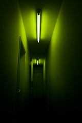 Green Energy (Energie verte) (Gilderic Photography) Tags: door light shadow black green wall dark lumix scary alley energy europe neon raw noir darkness belgium belgique belgie perspective corridor vert ombre panasonic lumiere porte liege couloir lightroom nowayout lx3 dmclx3