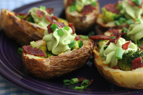 Broccoli Cheddar Potato Skins with Avocado Cream