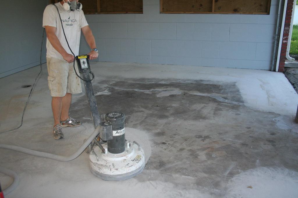 Grinding a garage floor