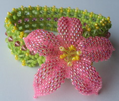 Tropical Holiday Beaded Bracelet (fivefootfury) Tags: flower hawaii colorful jewelry bracelet tropical brightcolors beaded beadwork pinkandgreen beadweaving tropicalholiday pinkyellowgreen ebwteam
