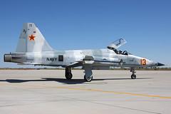 BOGEY (jderden77) Tags: airplane flying aircraft aviation tiger navy jet saints camo fighting naval fallon f5 usn nas northrop aggressor vfc13