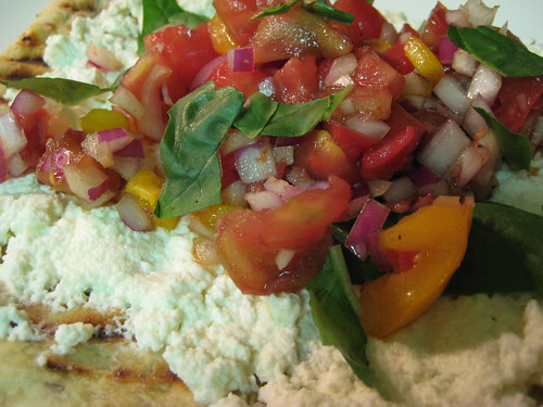 grilled pizza with homemade ricotta and heirloom tomato bruschetta