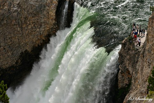 A telephoto shot of the Upper Falls in Yellowstone National Park