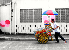 mamang sorbetero (mr. ice cream man) (life begins with 4t) Tags: travel summer art umbrella canon photography allan moving trolley philippines icecream vendor cart flavors marikina mmdaart fotocommunity 4t splashesofcolor sorbetero sorbetes yourcountry alltypesoftransport thecelebrationoflife lovelylovelyphoto sweetselectivecolor 4tsuarez fortunatosuarezjr