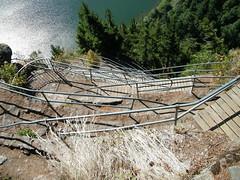 Handrail on a trail up Beacon Rock near North Bonneville WA