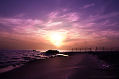 royal blush of morning (alvin lamucho ©) Tags: ocean morning sea sun clouds sunrise dawn coast early seaside sand gulf purple middleeast violet lavender royal lilac kuwait blush regal daybreak breakofday nonhdr canon450d canonrebelxsi alvinlamucho