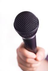 Microphone Held Toward Viewer (LatinaLista) Tags: studio hand singing politics performance reporter equipment business sing sound karaoke microphone advice interview deejay feedback comments speak journalist complaints opinion interviewee asking condenser interviewer discjockey tvreporter electricalequipment miking soundrecordingequipment