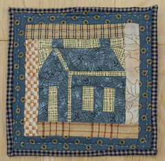 Little blue patchwork house (jillyspoon) Tags: door blue windows colour texture thread canon eos coast stitch handmade sewing gingham fabric quilting material textiles patchwork stitched bluehouse littlehouse scrappy minihouse handquilted foundationpieced 450d canon450d canon450dukusers patchworkanadquilting patchworkhouse bluescrappyhouse patchworkschoolhouse quiltedhouse quiltedschoolhouse