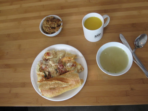 Soup, cheese ravioli, bread, lemonade apple crisps - $6