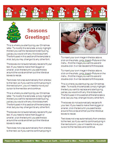 microsoft word christmas newsletter template - peace on earth/three wisemen