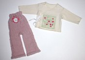 'Cherry Blossoms' Set - cabled longies & embroidered wrap shirt - newborn