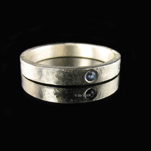 Sterling Silver Band with inset Sapphire
