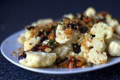 Cauliflower with Almonds, Raisins and Capers