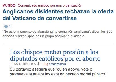 comentarios en dos noticias de medios nacionales